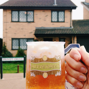 """Butterbeer-ing at 4 Privet Drive. Many people have asked me how this tasted like- its like root beer float with a bit of caramel sauce"" by @girleatworld"