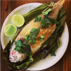 """BBQ pink snapper in banana leaves and red curry sauce."" for Paddock To Plate by @chefmattmoran"